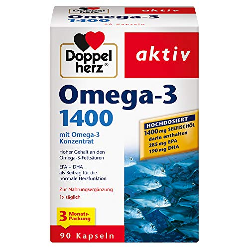 Doppelherz Omega-3 1400 mg / 3-Monats-Packung / Nahrungsergänzungsmittel mit hochdosiertem Omega-3-Konzentrat plus Vitamin E / Hoher Gehalt an Omega-3-Fettsäuren / 1 x 90 Kapseln