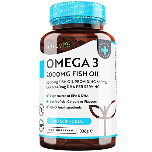Hochdosiertes Omega-3 (2000 mg) - 660 mg EPA & 440 mg DHA - Pure Fisch Öl Kapseln - Hergestellt in Großbritannien von Nutravita