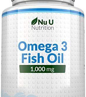 Omega 3 Fischöl 1000mg - 365 Softgelkapseln - Bis zu 12 Monate Vorrat - Reines Fischöl mit Ausgewogenem EPA & DHA - Schadstofffreies Omega 3 - Hergestellt in Großbritannien durch Nu U Nutrition