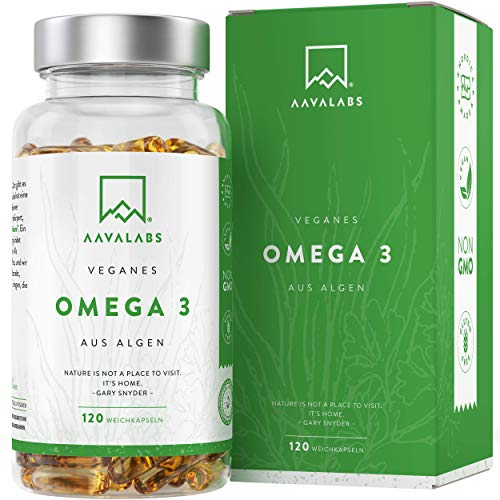 Vegan Omega 3 [ 1100 mg ] - pflanzenbasiertes Algenöl 600 mg DHA + 300 mg EPA pro Tagesdosis - 120 Softgel Kapseln - laborgeprüft - 100% vegan - 2 Monatsvorrat